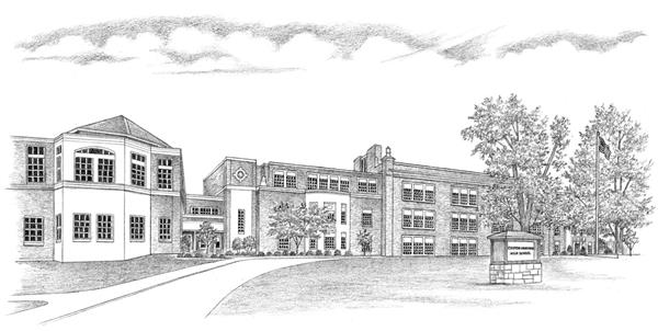 Sketch of Croton-Harmon High School Building