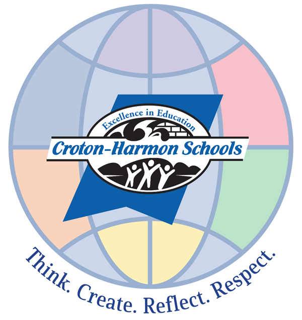 Croton-Harmon School Logo on a Multi-Colored Globe. Think. Create. Reflect. Respect.
