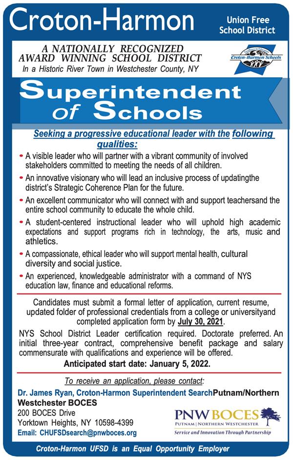 Croton-Harmon Superintendent of Schools Click to view full PDF