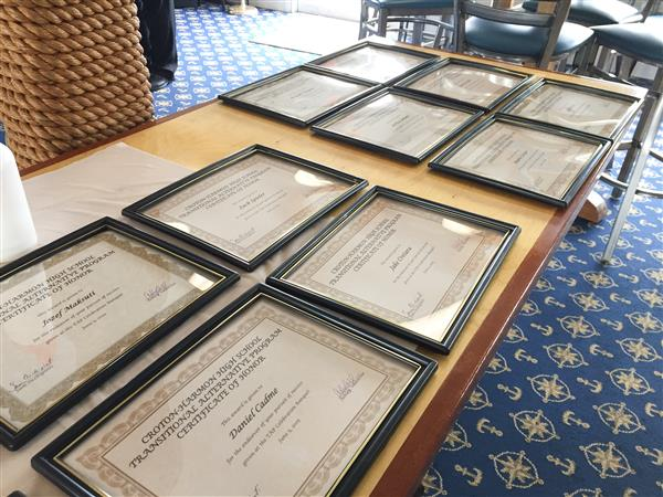 certificates on a table